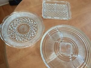 3 Crystal Serving Trays