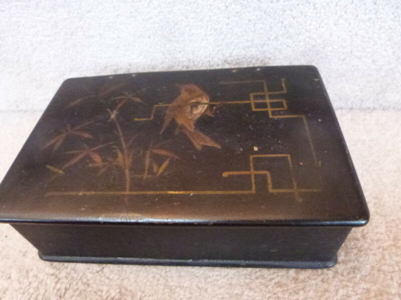 """ANTIQUE Large Asian Chinese Lacquer Paper Mache Box Brass Swallow 8""""x5.75""""x2.5"""""""