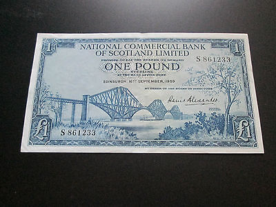 EF - A/UNC 1959 NATIONAL COMMERCIAL BANK £1 NOTE