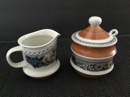 Goebel Burgund Country 3oz. Creamer And Sugar Bowl W/ Slotted Lid Spoon - $24.00