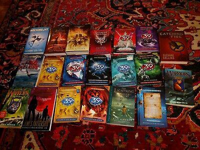 Teen Fiction 20 Book Lot: 39 Clues Hunger Games Warriors Maximum Ride EXCELLENT