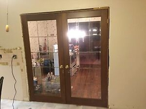 Stunning Antique Wood French doors 3' wide