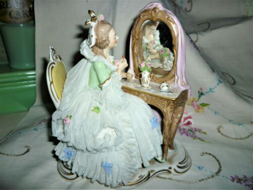 BEAUTIFUL Dresden Figurine Lady Vanity Boudoir Dressing Table Mirror Germany