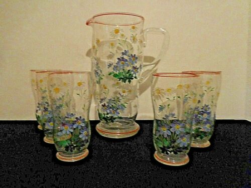 Glass Pitcher plus 6 Drinking Glass Set Beautiful Antique hand blown an painted