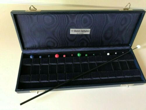 Vintage Ophthalmic Visual Field Test Objects, Case with Wand, Sbisa Co, Italy
