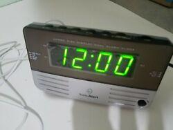 SONIC ALERT ALARM CLOCK w BED SHAKER XTRA LOUD BIG DISPLAY BOOM HEARING IMPAIRED