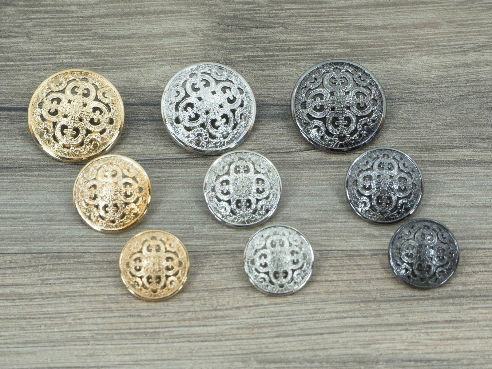 Metallknöpfe Ornament für Uniform, Jacke und Mantel 18 / 20 / 25mm Knopf mit Öse