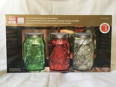 3pk Decorative Colored Holiday Glass Storage Jars With Lids Lights LED - Decorative Glass Jars With Lids