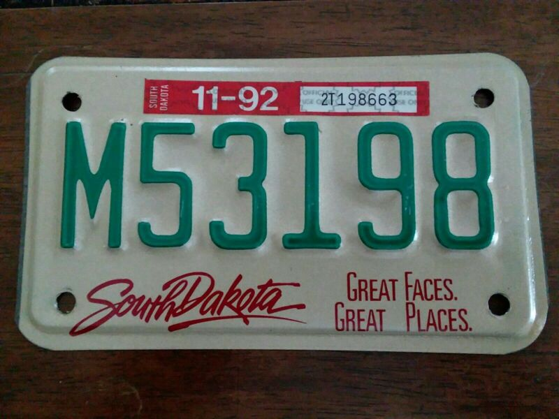 1992 South Dakota Motorcycle  License Plate Great Faces & Places