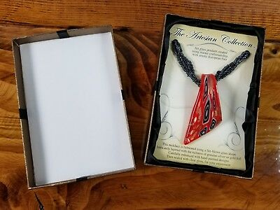 """The Artesian Collection 10"""" suede cord Necklace red fire-blown glass pendant NEW"""