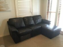 Black Leather sofa 3 seater with Chaise as new Bulimba Brisbane South East Preview