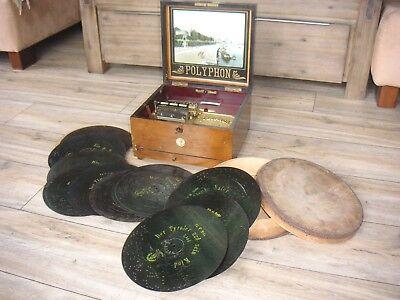 """Polyphon 72G mit vielen Platten 28cm originale box bells music box 11"""" discs"""
