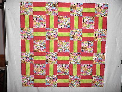 "Multi-colored animals nursery/toddler handmade quilt-top (App. 43"" SQ.)"