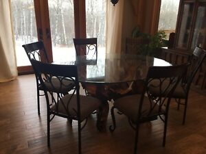 Teak Root dining table with 6 chairs
