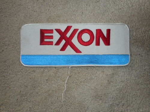 "Vintage Extra Large Embroidered EXXON Patch 10"" x 4"" Oil Field Gas - Rare Size"
