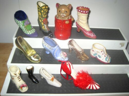 12 Collectible Decorative Shoes & Boots. Glass Resin Red Celluloid Kitten Boot