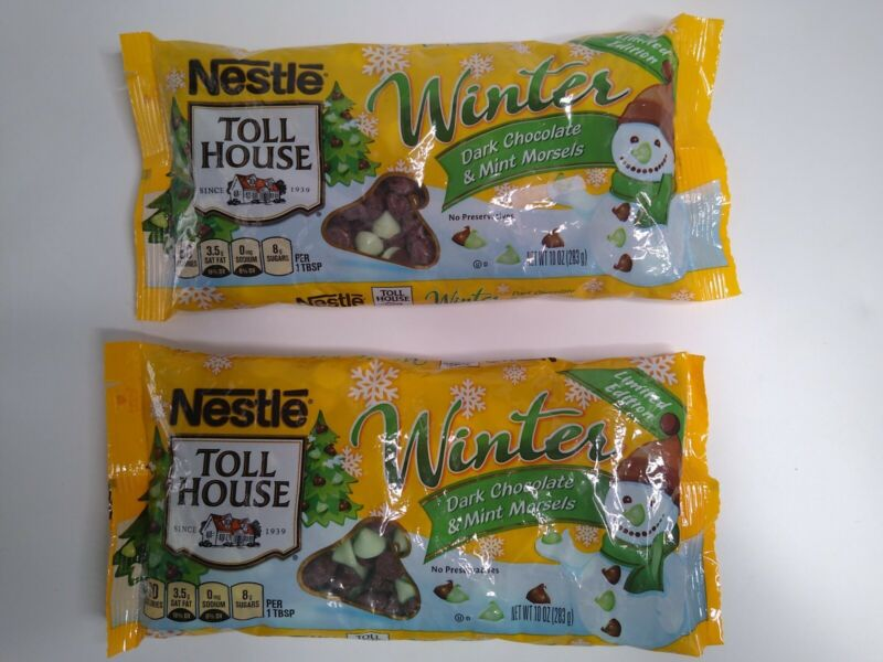 2 Bags Nestle Toll House Winter Dark Chocolate & Mint Morsels 10 Oz BB June 2019