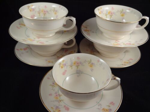 Vintage set of 5 Pope Gosser USA Clementine cups and saucers