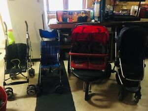 4 Strollers and a wagon