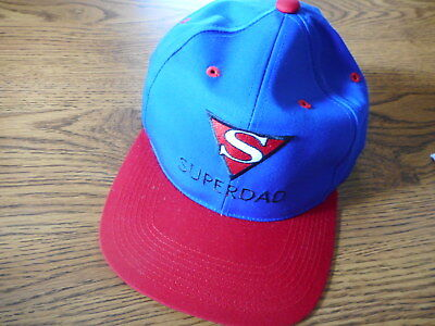 MEN'S BASEBALL HAT CAP SUPERMan DAD Father's Day Gift SUPERDAD Blue Red Fits All for sale  Everett