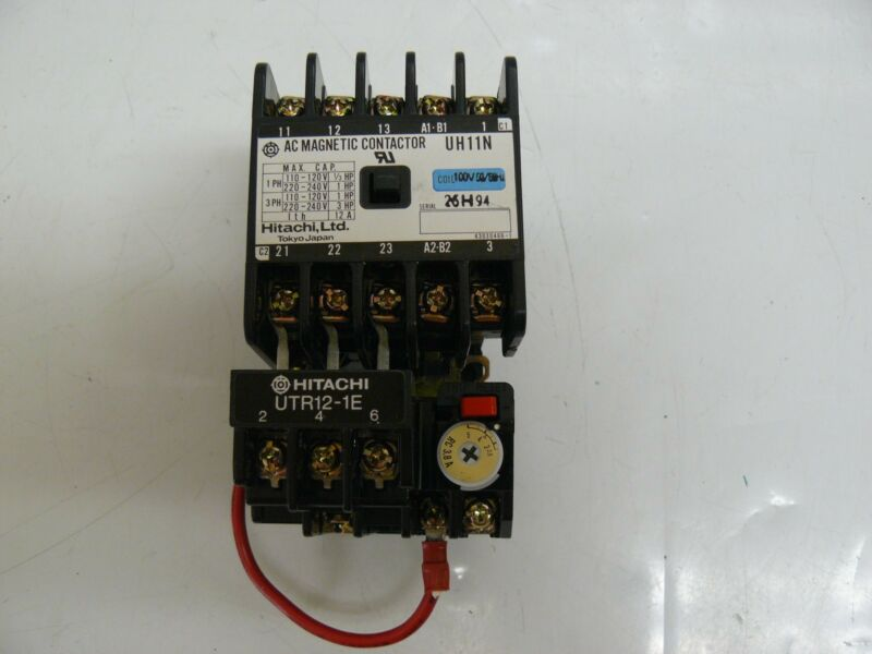 HITACHI UH11N-T AC MAGNETIC CONTACTOR WITH UTR12-1E
