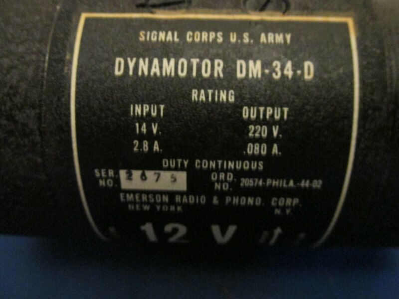 12 VOLT DYNAMOTOR DM34 FOR BC603/SCR508, BC683/SCR608 MILITARY RECEIVER
