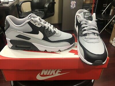 NIKE AIR MAX 90 LTR GS 833412-016 LEATHER BLACK WHITE GREY BOYS GIRLS YOUTH (Nike Air Max 90 Leather Black Grey)