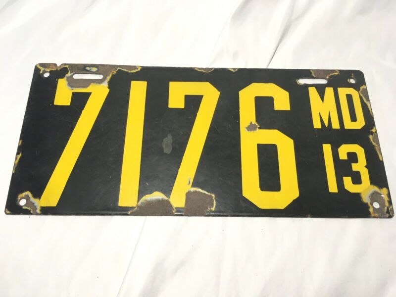 Maryland 1913 License Plate Antique Porcelain Black Yellow MD