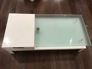 White coffee table with draw and glass top Neutral Bay North Sydney Area Preview