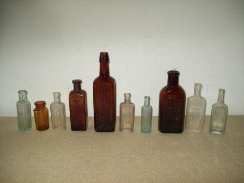 Lot of 10 old medicine bottles, Paines Celery Compound  Rev Downs  E Hartshorn
