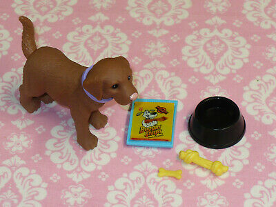 Mattel Barbie Doll PET DOG BROWN BOBBLE HEAD with Accessories Lot DREAM HOUSE