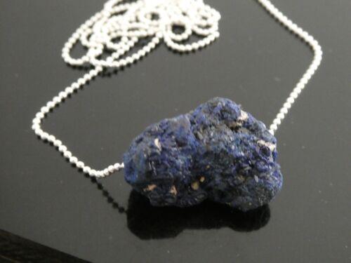 Genuine Blue Azurite Morocco Rough Specimen Indigo Gemstone Pendant Necklace
