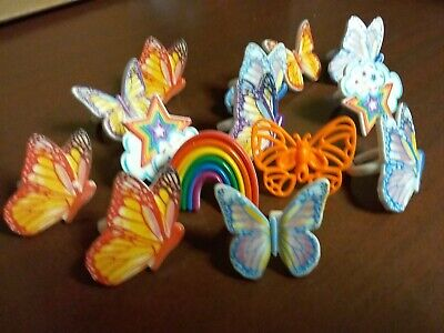 Butterfly Cupcake Toppers (DecoPac Cupcake Ring Pick  Cake Decorating 12 Butterflies & Rainbow Topper)