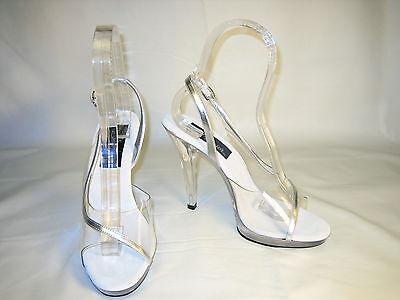 Pleaser platform slingback 4.5 inch stiletto heels open toe pumps clear size 5