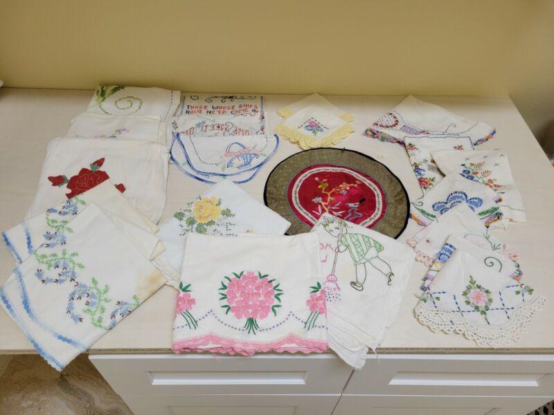 Massive Lot of Vintage Embroidered Linens - 48+ Pcs