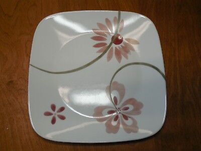 Corelle PRETTY PINK Square Set of 5 Dinner Plates 10 1/2""