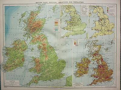 1940 MAP ~ BRITISH ISLES INDUSTRIES & DENSITY OF POPULATION COALFIELDS