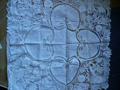 hand made lace and embroidered table cloth 88 x 88 cm