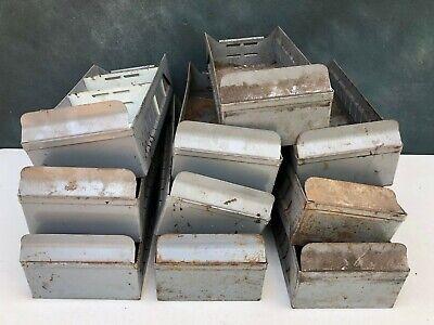 Vintage Industrial Grey Metal Storage Parts Bins Drawers