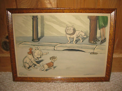 Antique Vintage 1930's French Original Signed Paris Dirty Naughty Dog Print