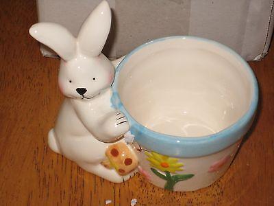 Rabbit Bunny Easter Basket Ceramic Figurine Display