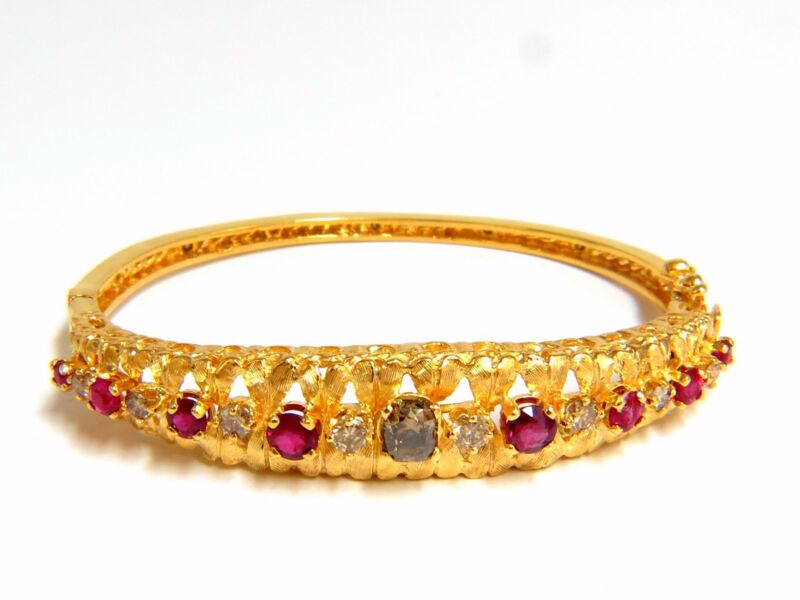 █ $8,000 3.26CT NATURAL RUBY FANCY COLOR DIAMONDS BANGLE BRACELET EURO GYPSY DEC