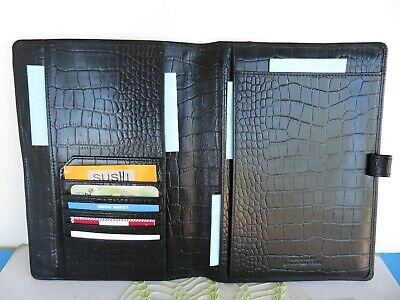 Franklin Covey Wire Bound Black Croc Leather Notepad Folio Cover Open 9.5x7