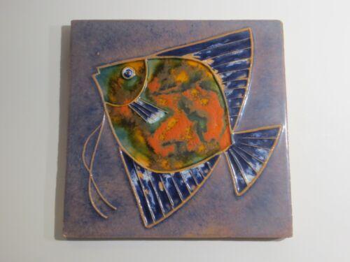 Rare Artist Signed Large Studio Art Pottery Fish Tile