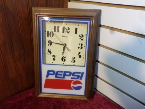 "Vintage Pepsi Hanover Quartz Wooden Frame Battery Operated Clock 14"" x 10"""