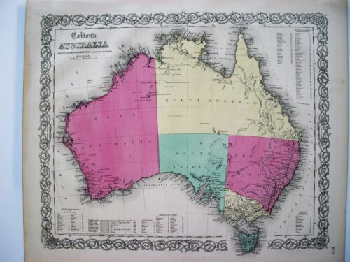 Antique Map of Australia: Original Hand Colored Engraved Map: Colton, 1855