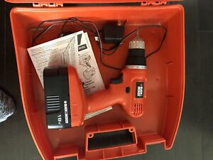 Black & Decker 18V drill with various bits and case