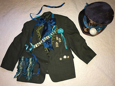 Mens MAD HATTER Costume jacket hat size 48 XL Alice in Wonderland unique OOAK](Alice In Wonderland Mens Costume)