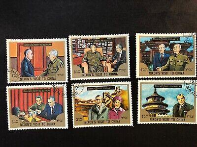 "Lot of 6 Stamps( ""Nixon's Visit to China"")Mao Zedong/Zhou Enlai(毛澤東, 周恩來, 尼克松1972)"