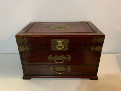 Vintage Chinese Rosewood Red Silk Lined Jewelry Chest Box w/ Bat Form Hardware